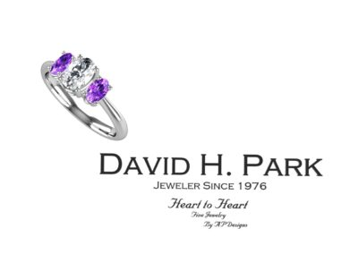 oval cut diamond and amethyst ring